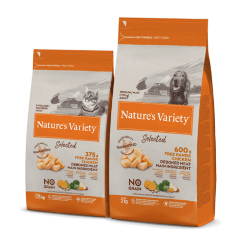 Pack of natural dog food